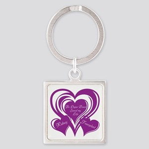 Purple love Triple Heart Square Keychain