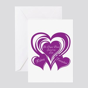 Purple love Triple Heart Greeting Card