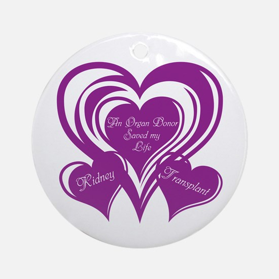 Purple love Triple Heart Ornament (Round)