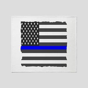 Us Flag Blue Line Square Throw Blanket