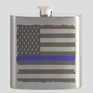 US Flag Blue Line Square Flask