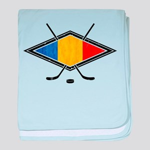 Romanian Ice Hockey Flag baby blanket