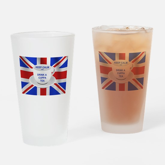Keep Calm and Drink a Cuppa Tea Drinking Glass