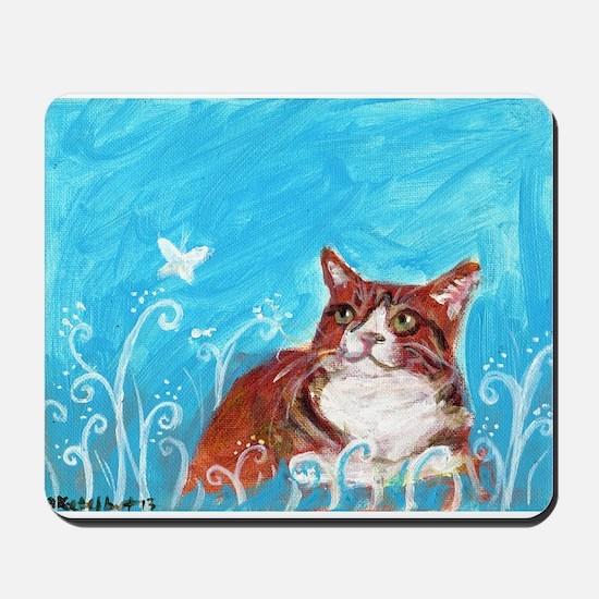 orange tabby cat eyes butterfly Mousepad