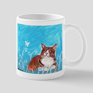 orange tabby cat eyes butterfly Mug
