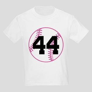 Softball Player Number 44 Kids Light T-Shirt