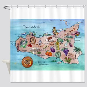 Map Of Sicily Shower Curtain
