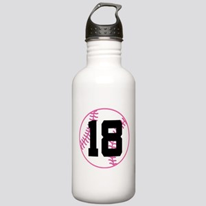 Softball Player Number 18 Stainless Water Bottle 1