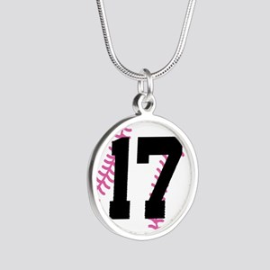Softball Player Number 17 Silver Round Necklace