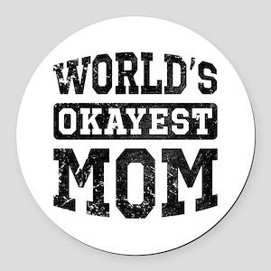Vintage World's Okayest Mom Round Car Magnet