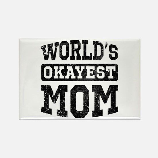 Vintage World's Okayest Mom Rectangle Magnet (100