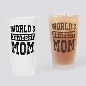 Vintage World's Okayest Mom Drinking Glass