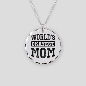 Vintage World's Okayest Mom Necklace Circle Charm
