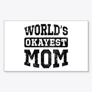 Vintage World's Okayest Mom Sticker (Rectangle)