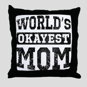 Vintage World's Okayest Mom Throw Pillow