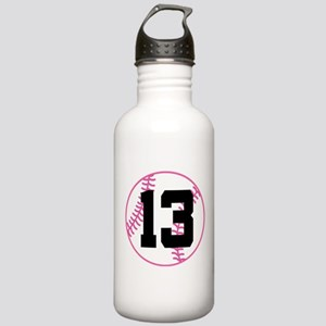 Softball Player Number 13 Stainless Water Bottle 1