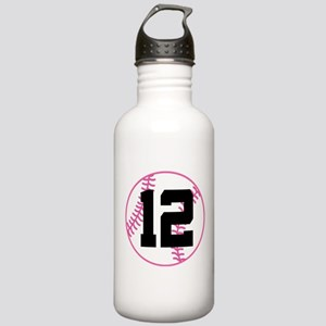 Softball Player Number 12 Stainless Water Bottle 1