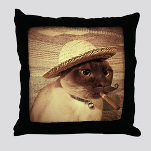 Gato w/Cigar Throw Pillow