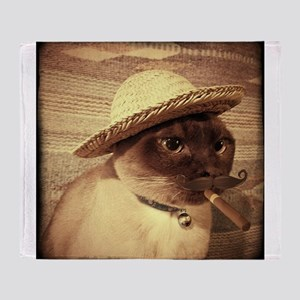 Gato w/Cigar Throw Blanket
