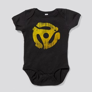 Distressed Yellow 45 RPM Adap Baby Bodysuit