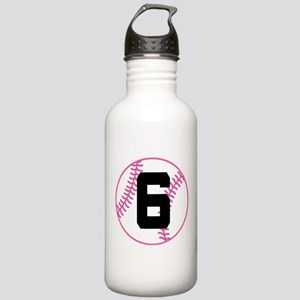 Softball Player Number 6 Stainless Water Bottle 1.
