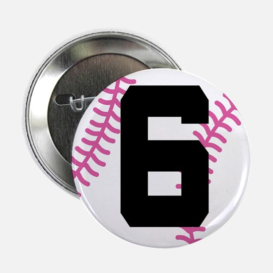 """Softball Player Number 6 2.25"""" Button"""