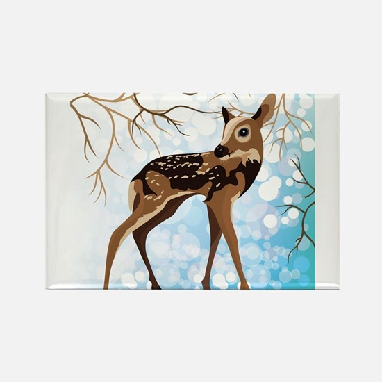Young Deer In A Winter Forest, Vector Illus Magnet