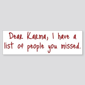 Karma List Bumper Sticker
