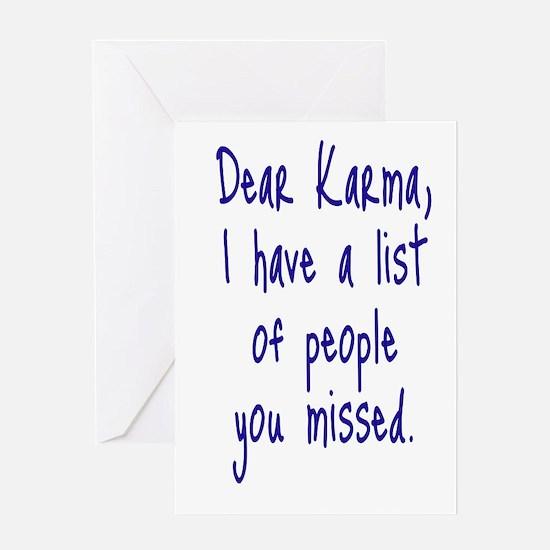 Karma List Greeting Card
