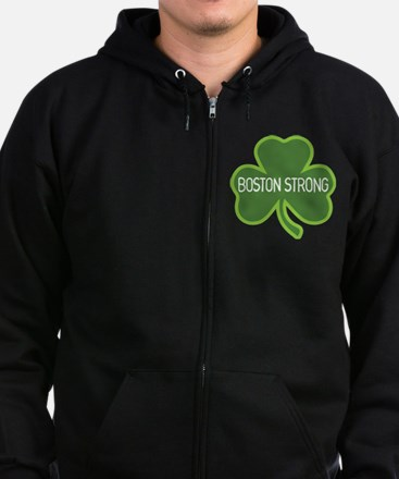 Boston Strong Shamrock Zip Hoodie