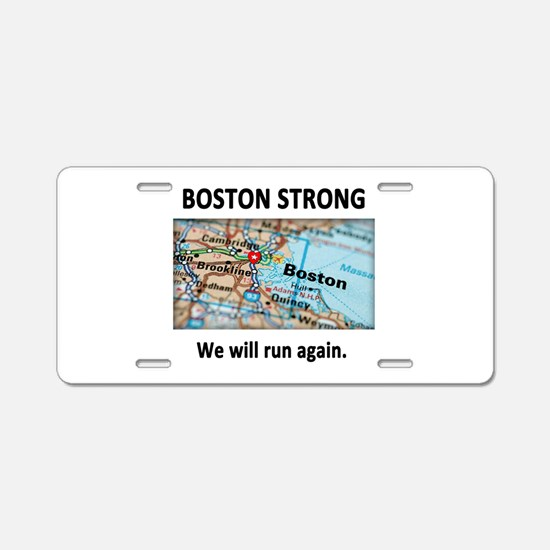 Boston Strong Map Aluminum License Plate