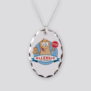 Allergic to Peanuts Necklace Oval Charm