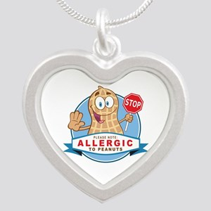 Allergic to Peanuts Silver Heart Necklace