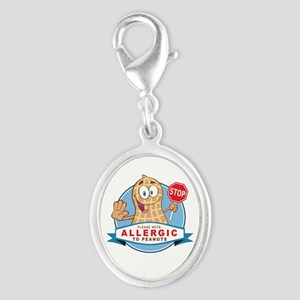 Allergic to Peanuts Silver Oval Charm
