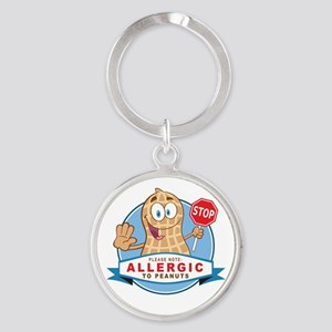 Allergic to Peanuts Round Keychain