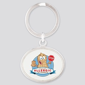 Allergic to Peanuts Oval Keychain