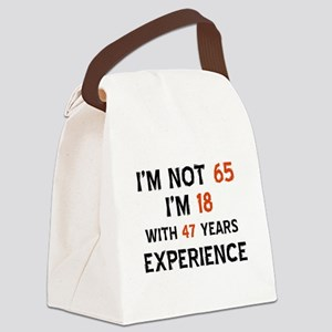 65 year old designs Canvas Lunch Bag