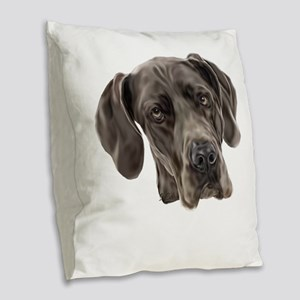 Blue Great Dane Dog Burlap Throw Pillow