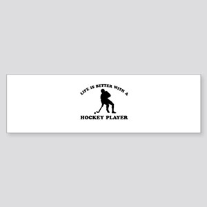 Hockey Player Designs Sticker (Bumper)
