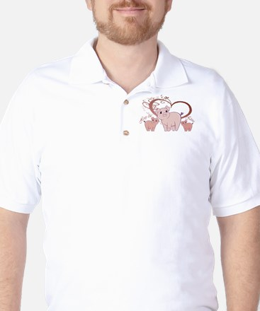 Hogs and Kisses Cute Piggies art Golf Shirt