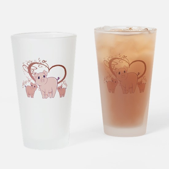 Hogs and Kisses Cute Piggies art Drinking Glass
