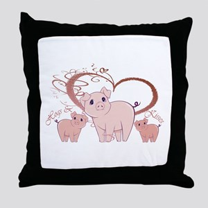 Hogs and Kisses Cute Piggies art Throw Pillow