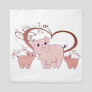 Hogs and Kisses Cute Piggies art Queen Duvet