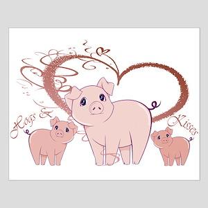 Hogs and Kisses Cute Piggies art Posters