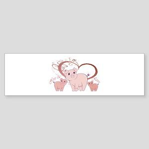 Hogs and Kisses Cute Piggies art Bumper Sticker