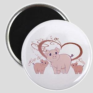 Hogs and Kisses Cute Piggies art Magnet