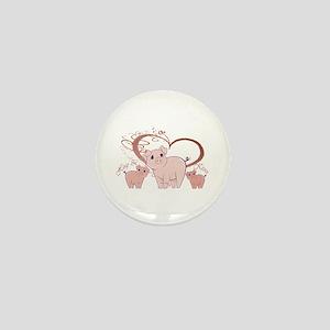 Hogs and Kisses Cute Piggies art Mini Button