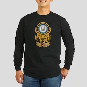 Navy Retirement Uniform Long Sleeve Dark T-Shirt