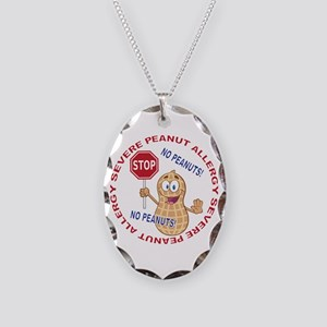 Severe Peanut Allergy Necklace Oval Charm