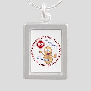 Severe Peanut Allergy Silver Portrait Necklace